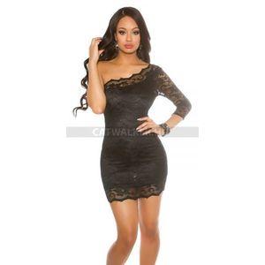Alkalmi ruha, féloldalas, csipke - 39363 - fekete - catwalker kép