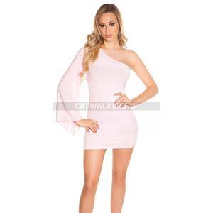 1ad86d6dc6 Alkalmi ruha, bő, féloldalas ujjal - 39390 - rózsaszín - catwalker