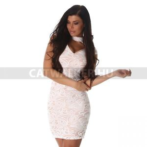 Alkalmi ruha, különleges anyagú - 39446 - fehér - catwalker kép