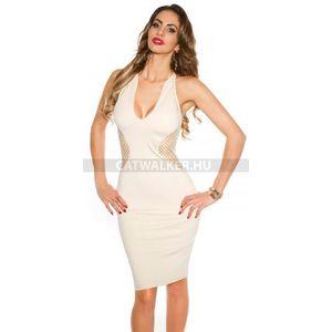 Party ruha, női, hátán, oldalán necc - 39412 - bézs - catwalker kép