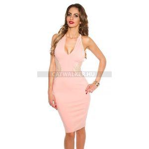 Party ruha, női, hátán, oldalán necc - 39412 - rózsaszín - catwalker kép