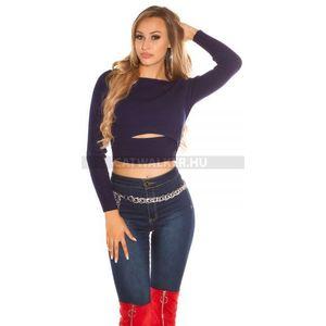 83b389c0fe Női kötött pulóver, bordázott, rövid derekú, kivágott - kék - catwalker