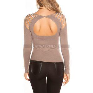 Női kötött pulóver, hátán nyitott és strasszos - cappuccino - catwalker kép