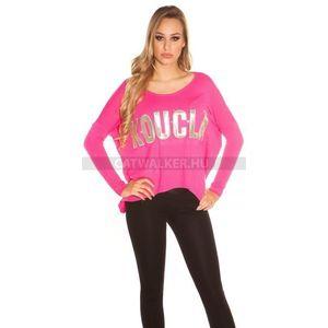 Női pulóver bő fazonú, strasszos felirattal - pink - catwalker kép