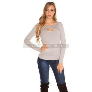 Női pulóver strasszos, mellén kivágott - szürke - catwalker kép