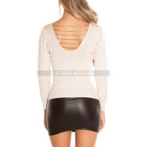 Női pulóver hátán kivágott, láncos - bézs - catwalker kép