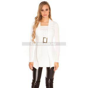 Kötött ruha 2in1 hatású, derekán csatos, strasszos - fehér - catwalker kép