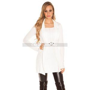 Kötött ruha 2in1 hatású, derekán csattal díszített - fehér - catwalker kép
