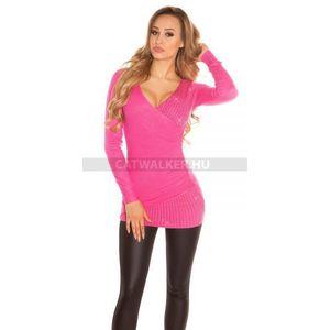 Kötött ruha, pink színű, női, átlapolós, strasszos - catwalker kép