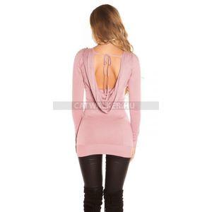 1870709c24 Kötött ruha hátán kivágott, szegecses, strasszos - rózsaszín - catwalker