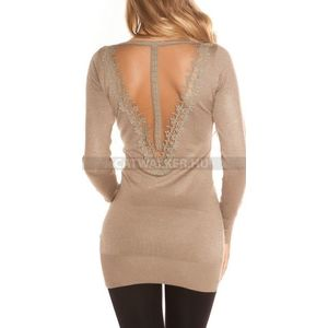 Kötött ruha, cappuccino, női, hátán díszes, áttetsző - catwalker kép