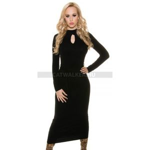 Kötött ruha, hosszú, női, hátán nyitott - 39656 - fekete - catwalker kép