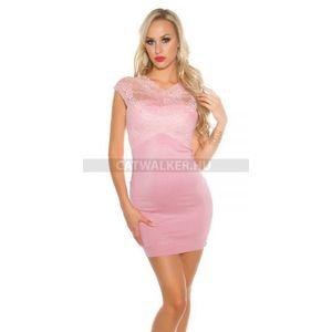 Kötött ruha, ujjatlan, csipkés felsős - rózsaszín - catwalker kép