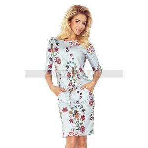 Nyári ruha, női, csinos, megkötős - szürke, virágos - NO 13-55 - catwalker kép