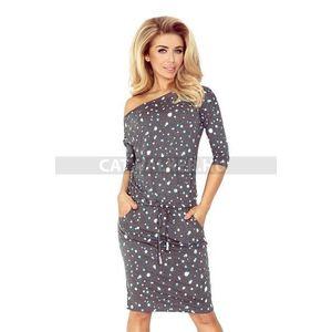 Nyári ruha, női, divatos - szürke-pöttyös - NO 13-61 - catwalker kép