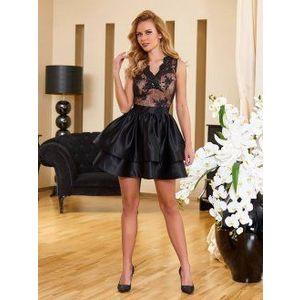 2 fodros fekete-nude loknis ruha kép