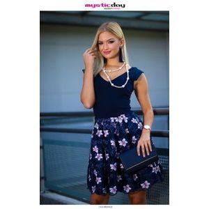 Kék-púder virágos csipkés tüll loknis ruha kép