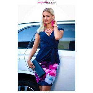 Betty sötétkék kála virágos vászon ruha kép