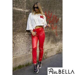 Leather Lover Red - Piros bőrhatású nadrág kép