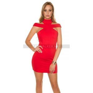 Alkalmi ruha szexi vállas, raktári - piros - catwalker kép