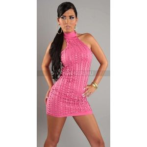 Ujjatlan szuper szexi alkalmi ruha, pink - catwalker kép