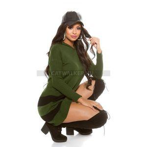 Női tunika, szexis, csíkos aljjal - zöld - catwalker kép