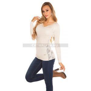 Női kötött pulóver strasszos, csipkés - bézs - catwalker kép