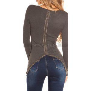 Női kötött pulóver szegecses - sötétszürke - catwalker (38 db ... 937292052f