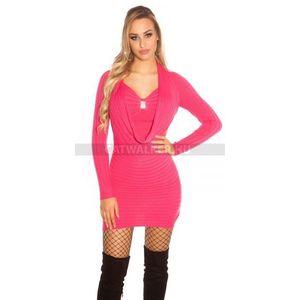 Női kötött ruha, ejtett nyakú, díszes - pink - catwalker kép