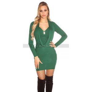 Női kötött ruha, ejtett nyakú, díszes - zöld - catwalker kép