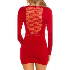 Kötött ruha, hátán szép csipkés, köves - piros - catwalker kép