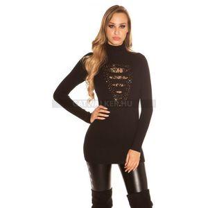 Kötött ruha, szexi csipkés, garbós - fekete - catwalker kép