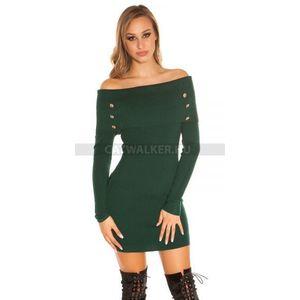 Kötött ruha carmen vállas, gombos - zöld - catwalker kép