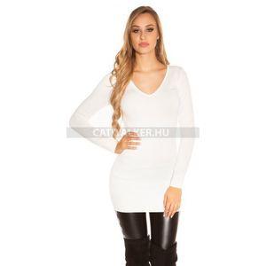 Kötött ruha strasszos, hátán kivágott - fehér - catwalker kép
