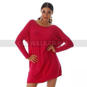 Kötött ruha bő fazonú, karján bordázott - pink - catwalker kép