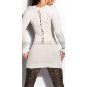 Kötött ruha hátán csipkés, masival- bézs - catwalker kép