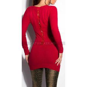 Kötött ruha hátán csipkés, masival- piros - catwalker kép