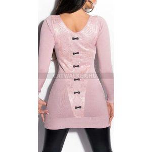 Kötött ruha hátán csipkés, kis masnis - rózsaszín - catwalker kép