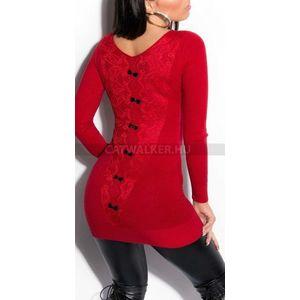 Kötött ruha hátán masnikkal - piros - catwalker kép
