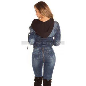 Női kabát, farmerdzseki kapucnis - fekete - catwalker kép