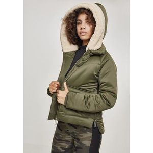 Urban Classics Ladies Sherpa Hooded Jacket darkolive/darksand kép