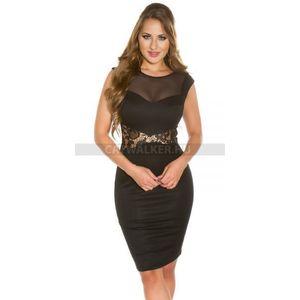 Alkalmi ruha, elegáns, átlátszó részekkel - fekete - catwalker kép