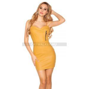 Party ruha, műbőr, cipzárral - sárga - catwalker kép