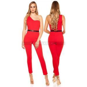 Alkalmi ruha, overál, féloldalas - piros - catwalker kép