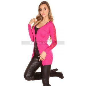 Női kardigán, trendi, csipkés ujjú - pink - catwalker kép