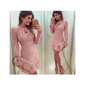 Női elegáns csipkés ruha pink + INGYENES KÉZBESÍTÉS kép