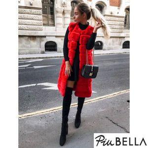 Foxy Red - Piros hosszított fazonú bunda mellény kép