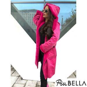 Arya Pink - Szőrmével bélelt kabát, zsebbel és kapucnival kép