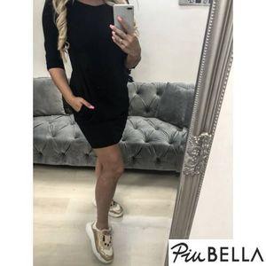 Cozy Dress Black - 3/4-es ujjú, zsebes tunika ruha kép