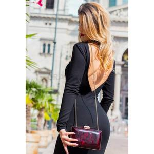 Fekete nyitott hátú szűk ruha kép